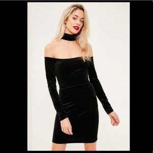 Black velvet bodycon missguided dress